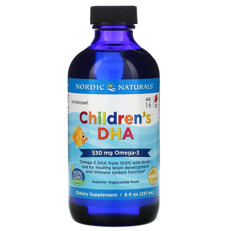 Nordic Naturals, Children's, ДГК для детей, со вкусом клубники, для детей 1–6 лет, 530 мг, 237 мл (8 жидк. унций)