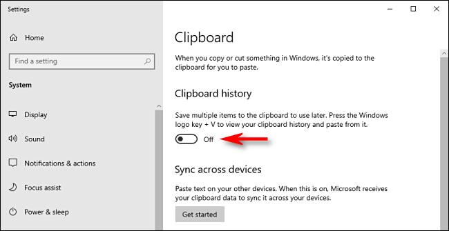 انقر فوق تبديل محفوظات الحافظة في إعدادات نظام Windows 10 لإيقاف تشغيله