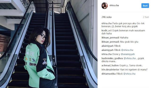 Driver Gojek Cantik Bernama Cha Cha Jadi Viral Gara-Gara Foto Instagram Pake Seragam Ojek Online