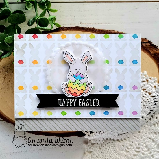 Happy Easter card by Amanda Wilcox | Bunny Tails Stencil Set, Hop Into Spring Stamp Set and Banner Trio Die Set by Newton's Nook Designs #newtonsnook #handmade
