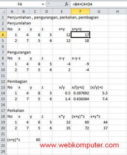 Rumus Penjumlahan Pengurangan Perkalian dan Pembagian pada Excel 2010