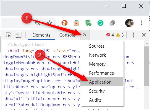 انقر فوق علامة تبويب التطبيق أعلى أداة المطور.  إذا لم يكن موجودًا ، فانقر فوق الرمز >> للكشف عن أي علامات تبويب مخفية.