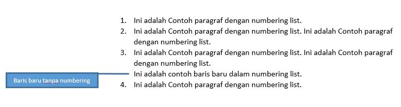 Contoh baris teks baru dalam numbering list