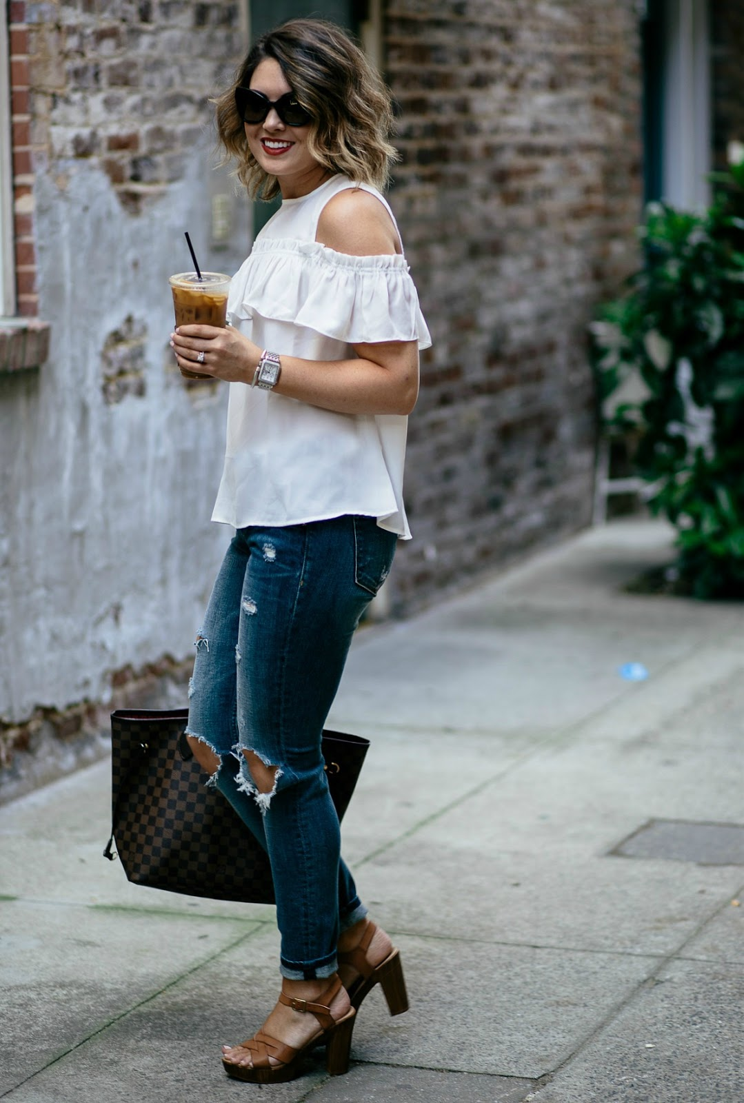 nordstrom, cold shoulder top, blanknyc jeans