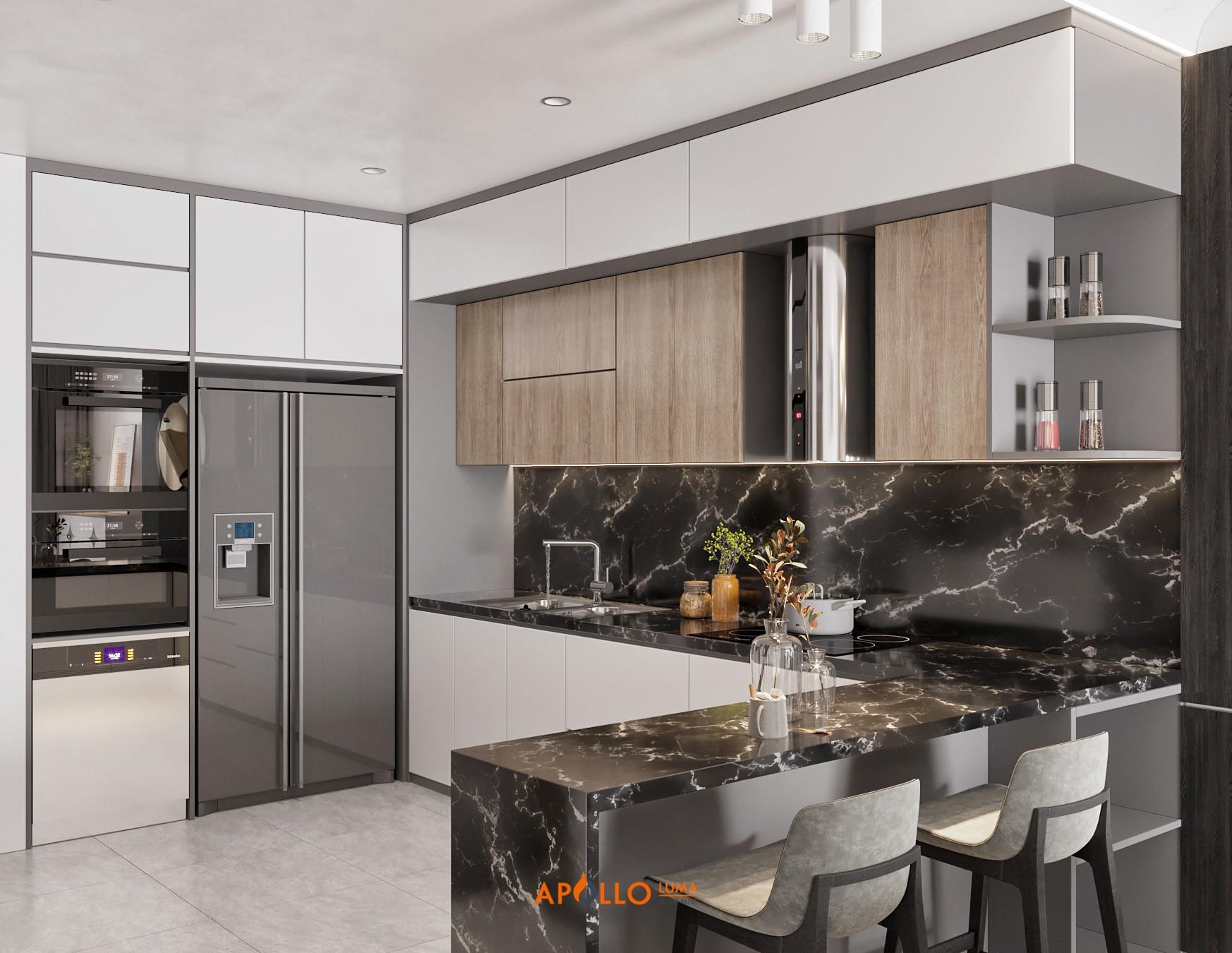 Thiết kế phòng bếp hiện đại cho căn hộ 2PN Times CityThiết kế phòng bếp hiện đại cho căn hộ 2PN Times City