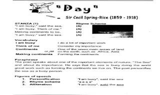 شرح قصيدة Day للشاعر Sir Cecil Spring-Rice كاملة  شرح وتوضيح قصيدة Day by Sir Cecil Spring-Rice