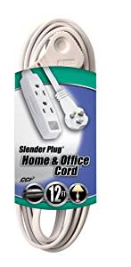 Coleman Cable 03518 Flat Plug Extension Cord, 16/3 Grounded with 3-Outlet Trinector Tap, 12-Foot