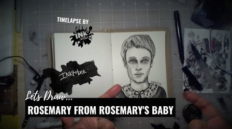 We Drew Rosemary from Rosemary's Baby - Inktober 2018
