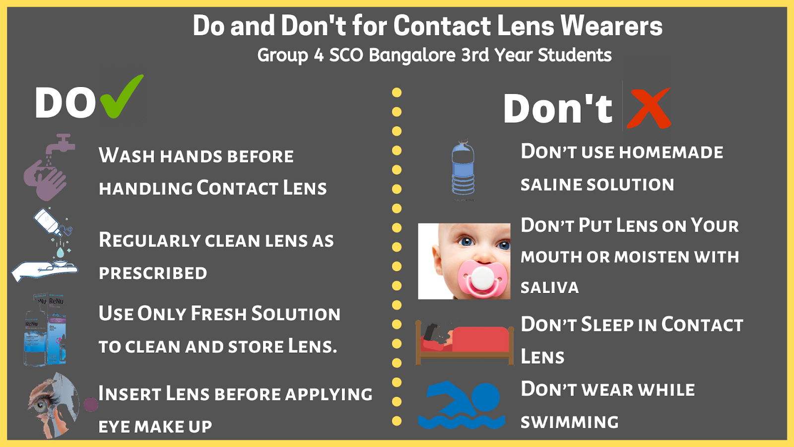 Do and don't of contact lens wearer