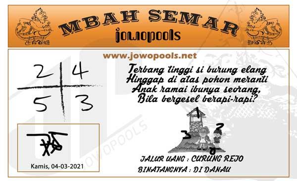 Prediksi Mbah Semar Togel Singapura Kamis 04 Maret 2021