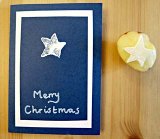Potato Printing Christmas Cards