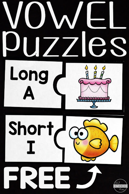 FREE Short Vowel and Long Vowel Puzzles - these are such a fun way to help kids learn to read, work on phonics, improve their spelling, and more with a fun educational activity for kindergarten, first grade, 2nd grade.