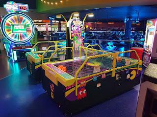 A Pac-Man Smash air hockey table at Namco Funscape at the Trafford Centre