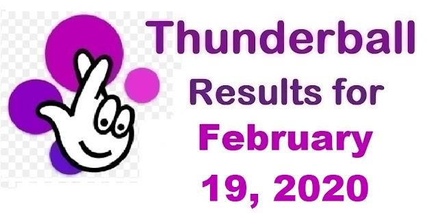 Thunderball Results for Wednesday, February 19, 2020
