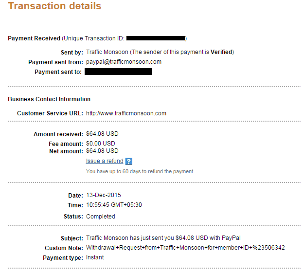 Traffic monsoon - Payment proof
