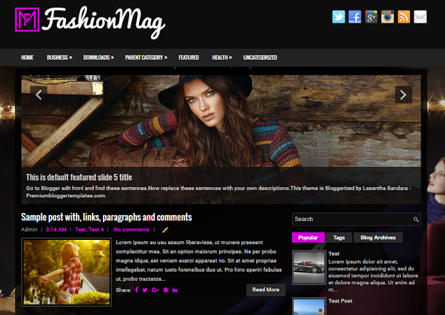 FashionMag  Blogger Responsive SEO Friendly Template