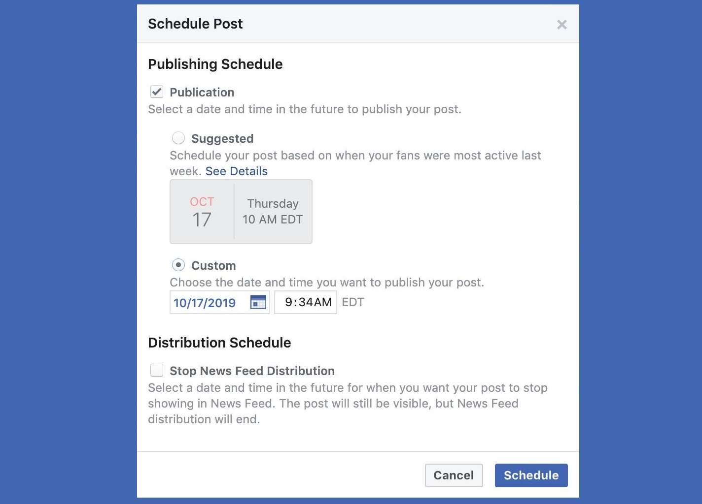 Facebook has a new 'Suggested' time option for scheduling Page posts.