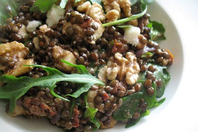Lentil Salad with Walnuts, Goat Cheese and Sun-Dried Tomatoes