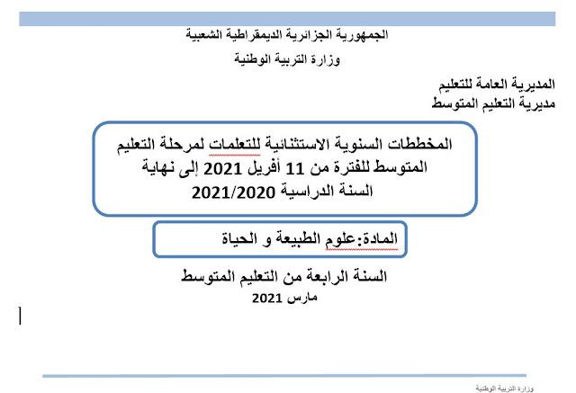 المخططات الاستثنائية للسنة الدراسية 2020/ 2021 لجميع المواد