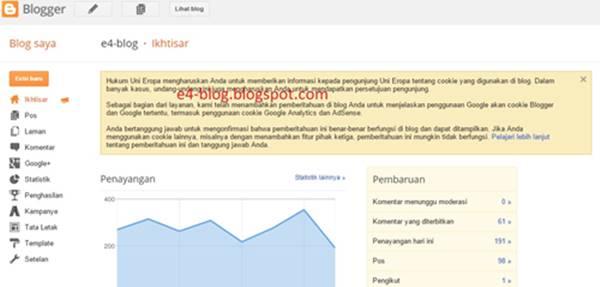 pengenalan menu-menu dasar di blogger