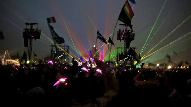 Coldplay light show at Glastonbury 2016