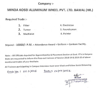 Campus Interview for ITI Apprenticeship at Govt ITI Mahendergarh For Minda Kosei Aluminum Wheel Pvt. Ltd.