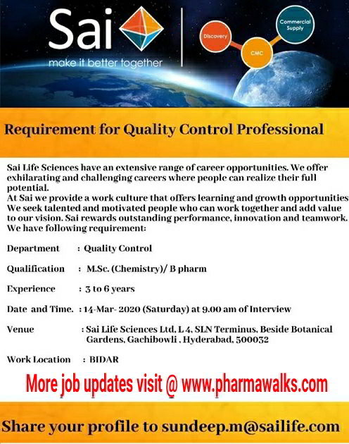 Sai Life Sciences walk-in interview for Quality Control on 14th Mar' 2020