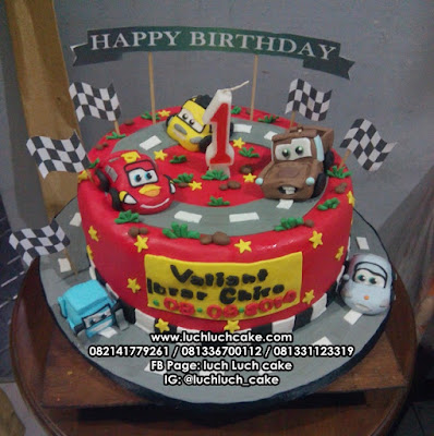 Fondant Birthday Cake Cars Mcqueen and Friends