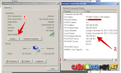Melihat ip address router di network connection details windows 7