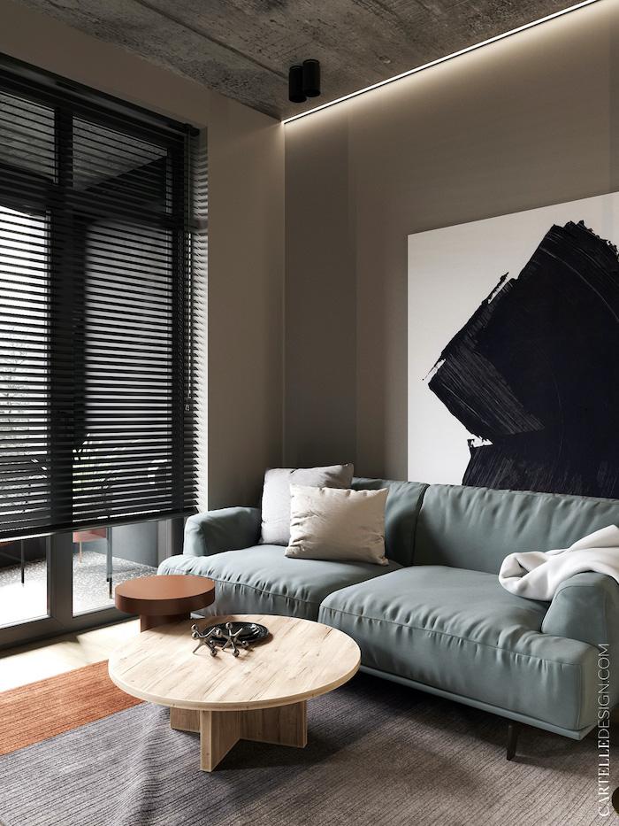 Zona del salón con cortinas venecianas