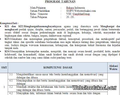 Prota Bahasa Indonesia Kelas 8 SMP/MTs K13 Revisi 2019