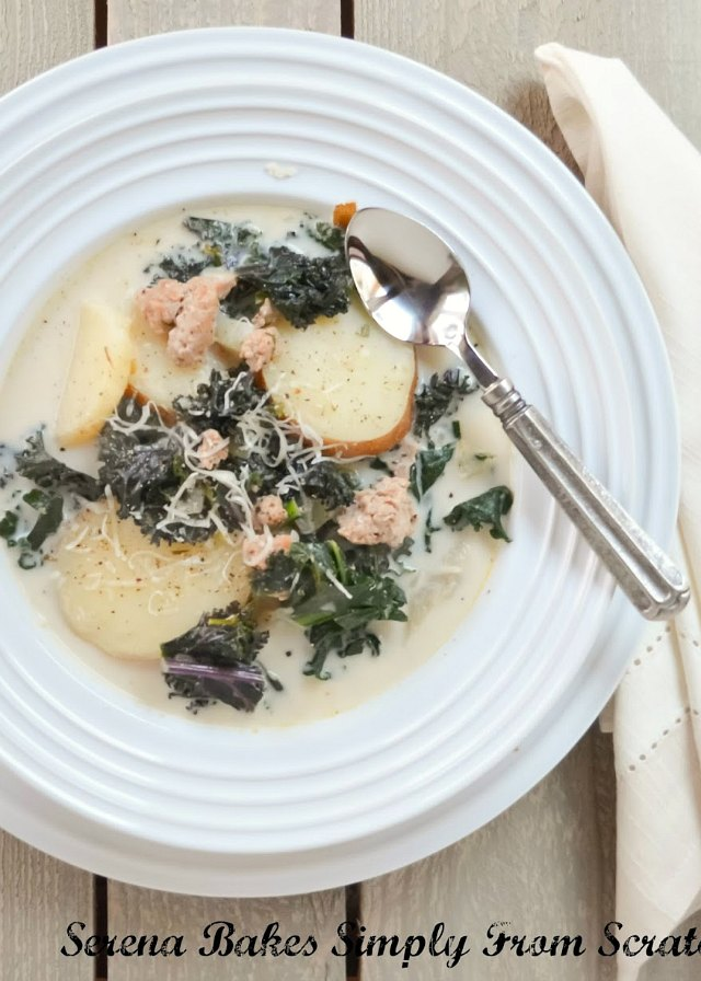 Sausage Kale Potato Soup like the favorite Zuppa Toscana from Olive Garden is an easy to make dinner recipe from Serena Bakes Simply From Scratch.
