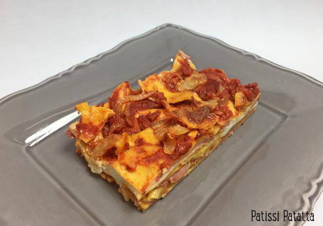recette de lasagnes coppa, lasagnes coppa cheddar et mozzarella, béchamel maison, recette de béchamel, sauce tomate express, cheddar, mozzarella, plat convivial, plat principal, patissi-patatta