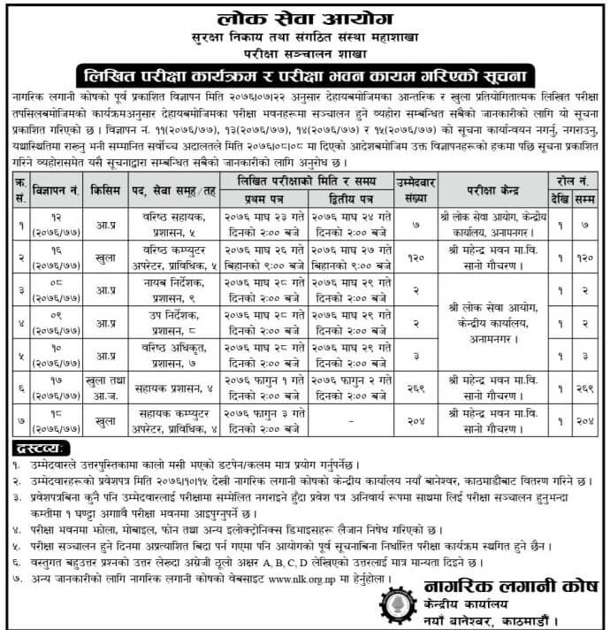 Nagarik Lagani Kosh Written Exam Schedule and Centers
