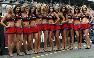 grid girls on at Formula One's racetrack
