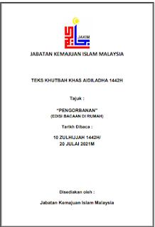 Panduan Teks Khutbah Hari Raya Aidiladha 2021 (JAKIM)