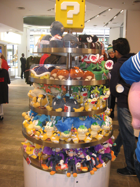Nintendo NY World Store plushie rack Mario characters Koopalings plush