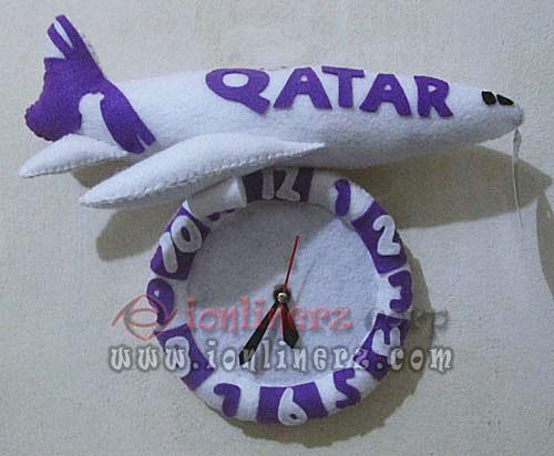 Jam Dinding Flanel Karakter Kartun Boneka Pesawat Lion Air, Qatar