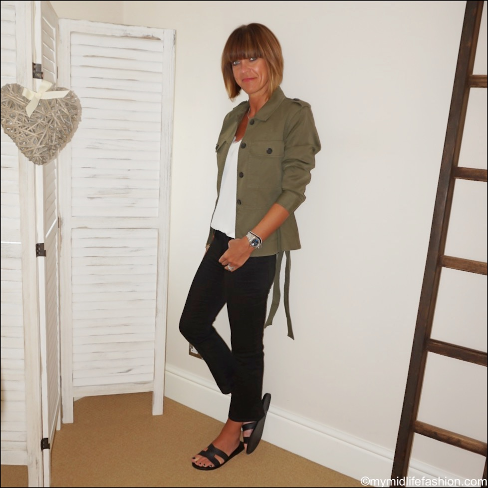 my midlife fashion, j crew shacket, Zara lace trim camisole, j crew Demi boot jeans, Ancient Greek leather sandals