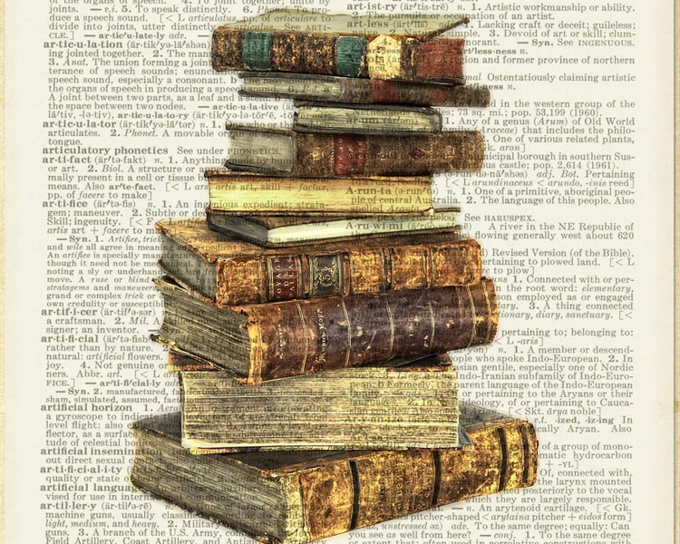 01-Stack-of-Antique-Books-Jean-Cody-Vintage-Dictionary-Page-Art-Prints-www-designstack-co