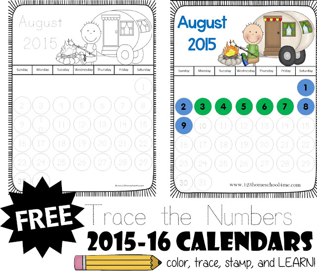FREE 2015 - 2016 Calendars for Kids! This is such a cute free set where kids can color, trace numbers, stamp with bingo marker, and learn about calendars. Great ideas for using it to teach toddler, preschool, kindergarten, and 1st grade included!
