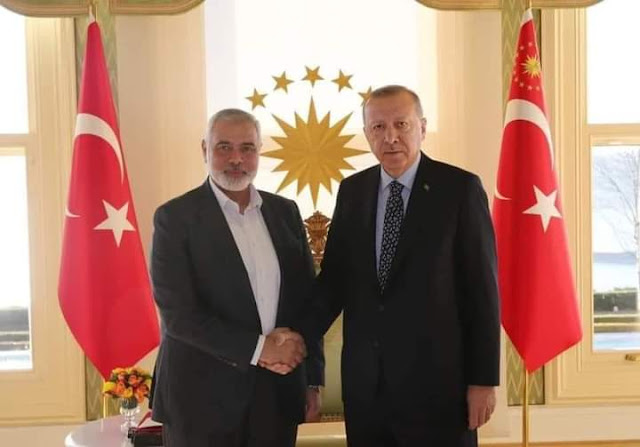Pertemuan terbaru Erdogan dengan PM Palestina Jalur Gaza Ismail Haniyyah.