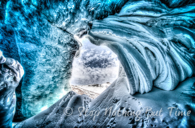 Ice cave at Athabasca Glacier in Jasper National Park