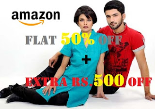 Amazon Fashions: Apparels, Footwear & Fashion Accessories – Min 50% Off + Extra Rs.500 Off