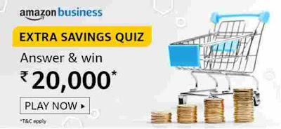 Amazon Extra Savings Quiz Answers Win – Rs.20000