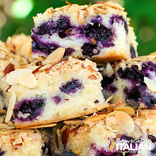 close up: slices of almond blueberry breakfast cake