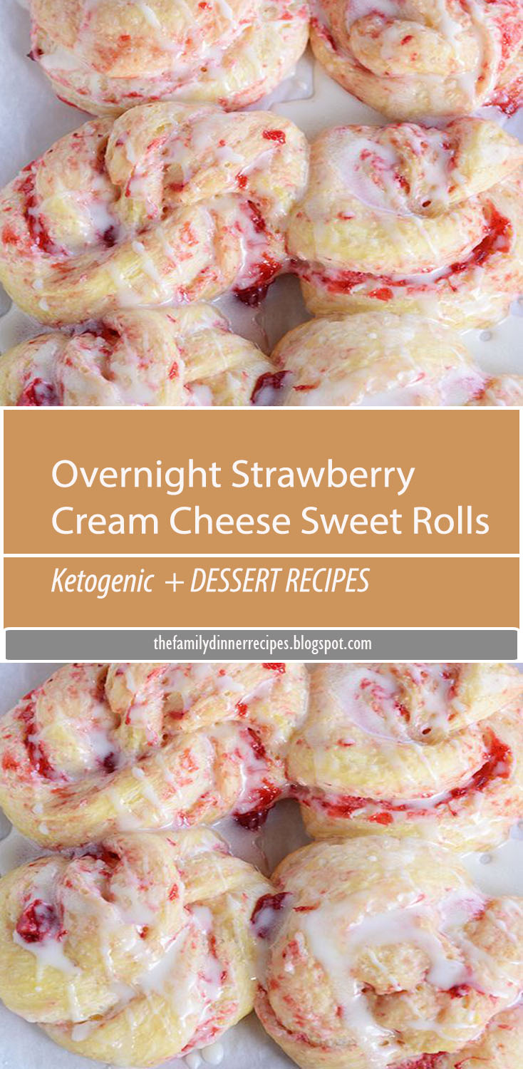 These glorious overnight strawberry cream cheese sweet rolls are amazing because they can be made ahead of time and baked fresh when you want them!