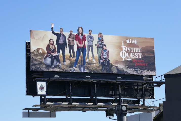 Mythic Quest Ravens Banquet cut-out billboard