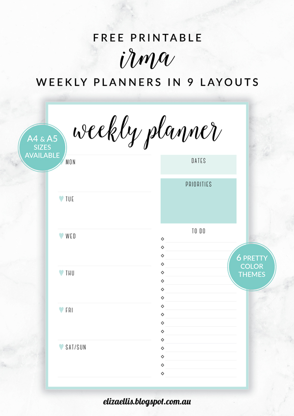 Free Printable Irma Weekly Planners by Eliza Ellis - The perfect organizing solution for mums, entrepreneurs, bloggers, etsy sellers, professionals, WAHM's, SAHM's, students and moms. Available in 6 colors and both A4 and A5 sizes. Enjoy!