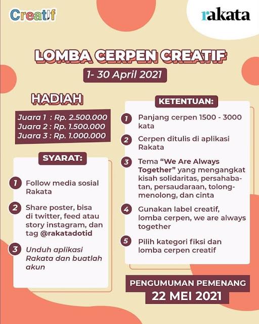 Lomba Cerpen Kreatif Deadline 30 April Hadiah Jutaan Rupiah